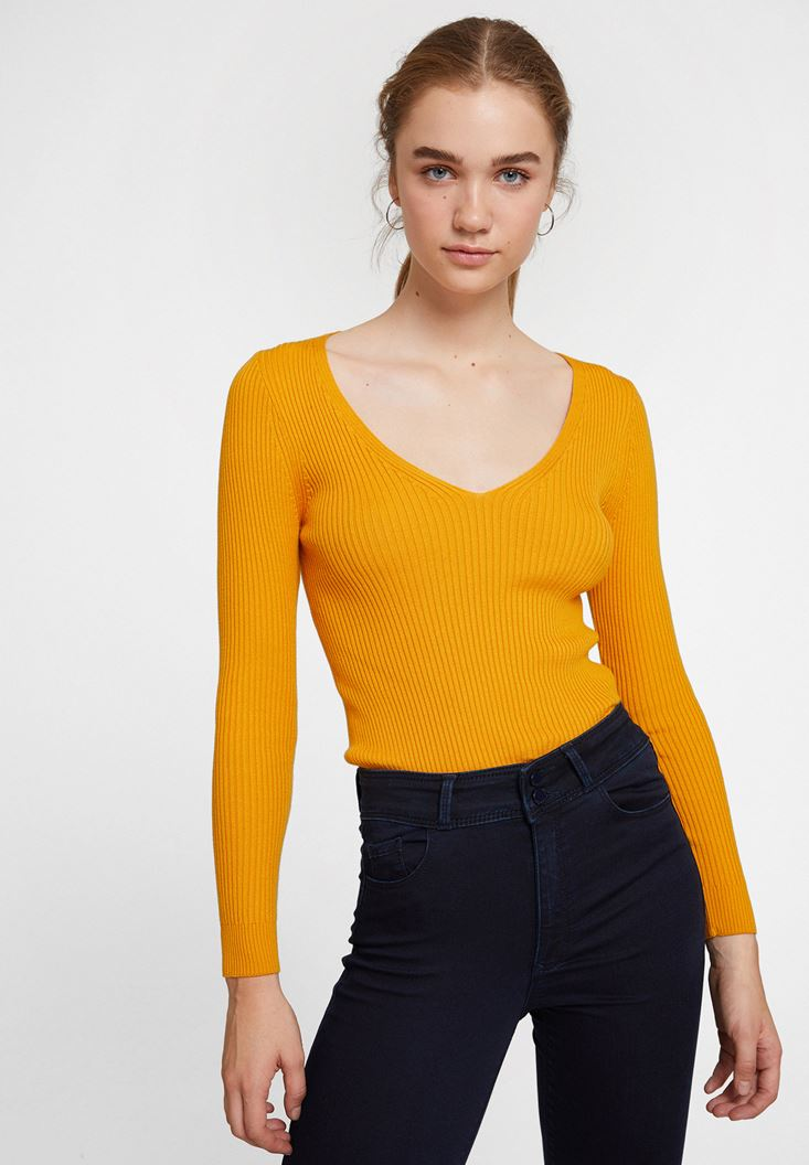 Orange Long Sleeve Knitwear with V Neck Detail