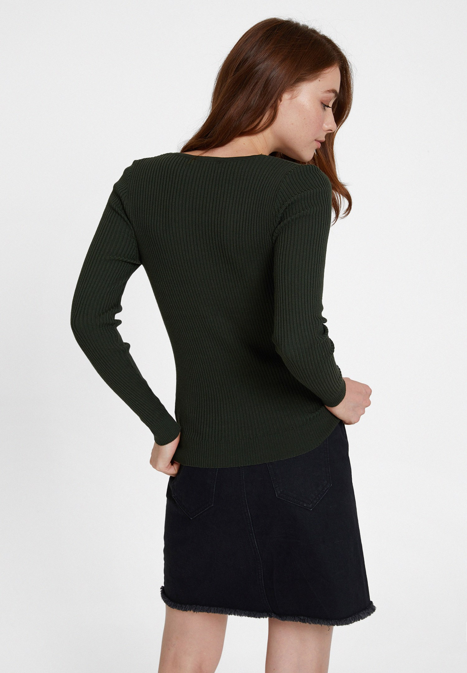 Women Green Long Sleeve Knitwear with V Neck Detail
