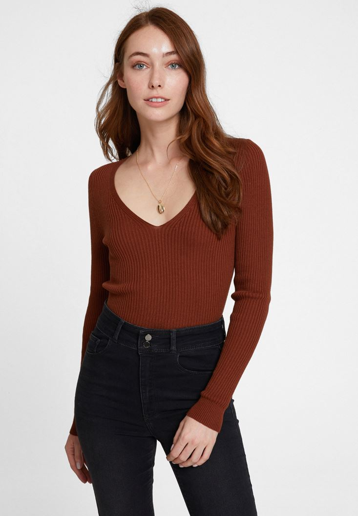 Brown Long Sleeve Knitwear with V Neck Detail