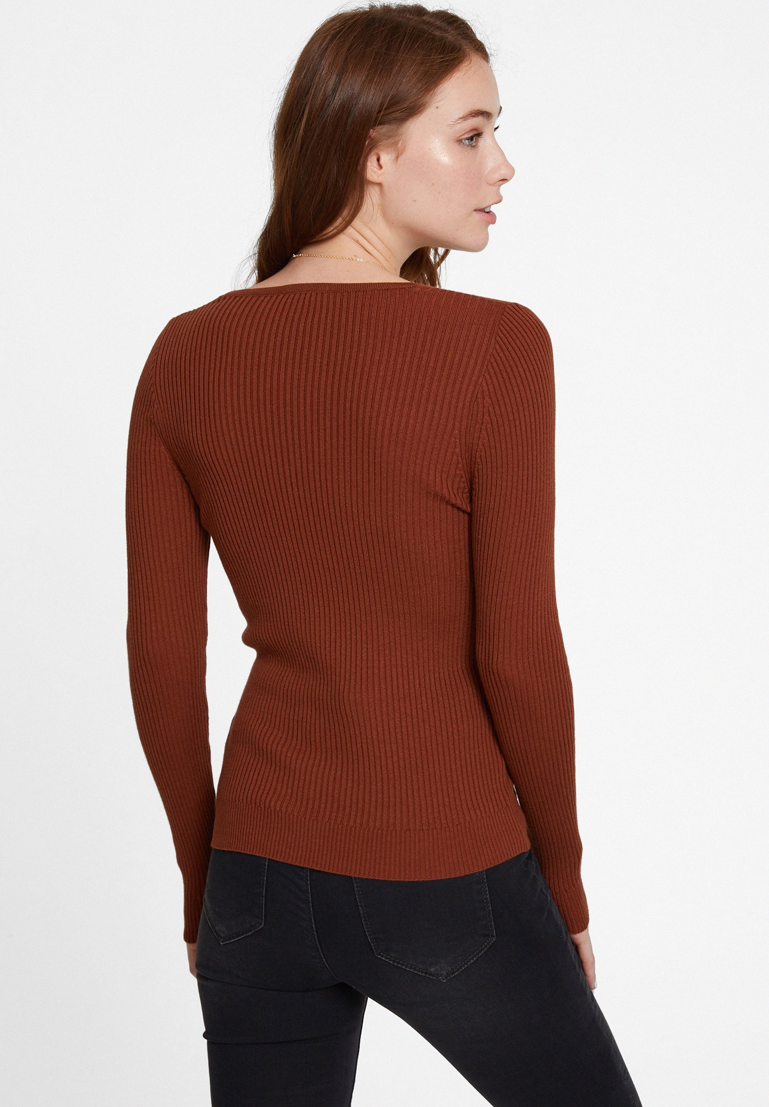 Women Brown Long Sleeve Knitwear with V Neck Detail