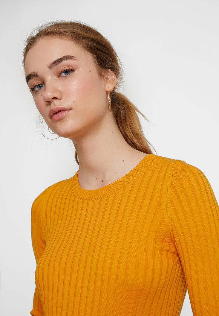 Orange Long Sleeve Knitwear with Detail