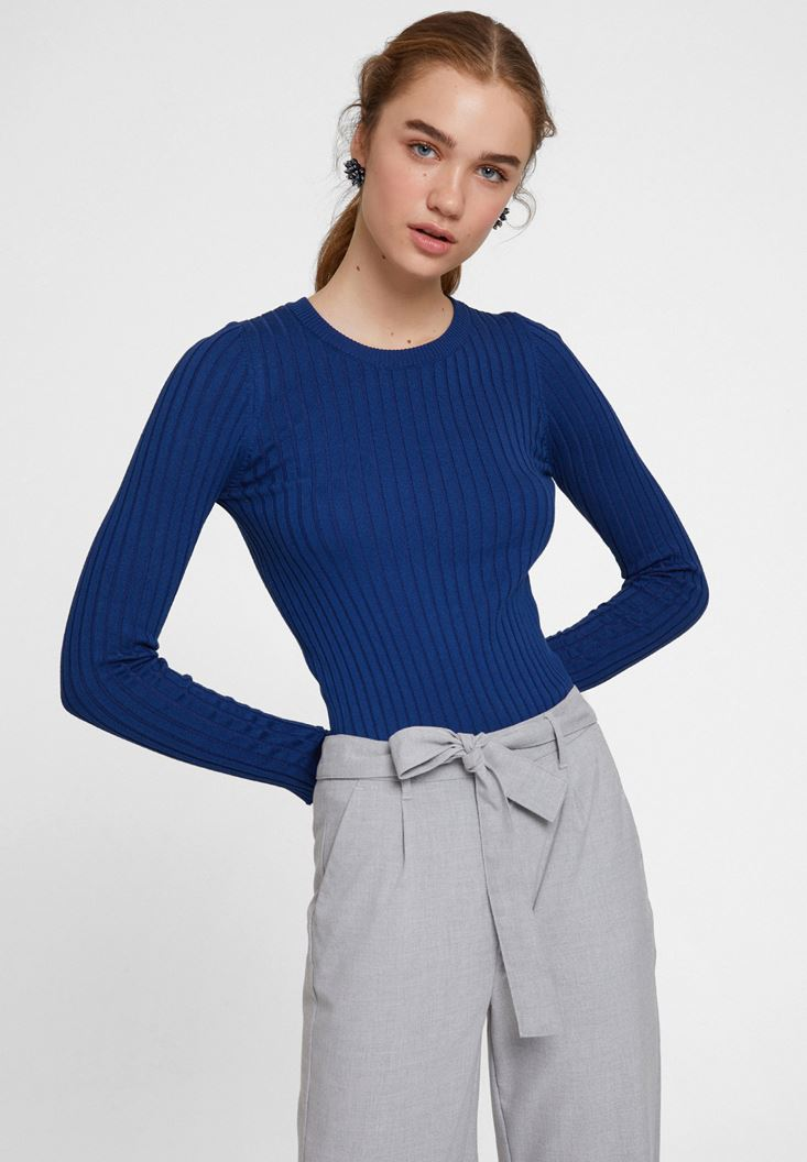 Navy Long Sleeve Knitwear with Detail