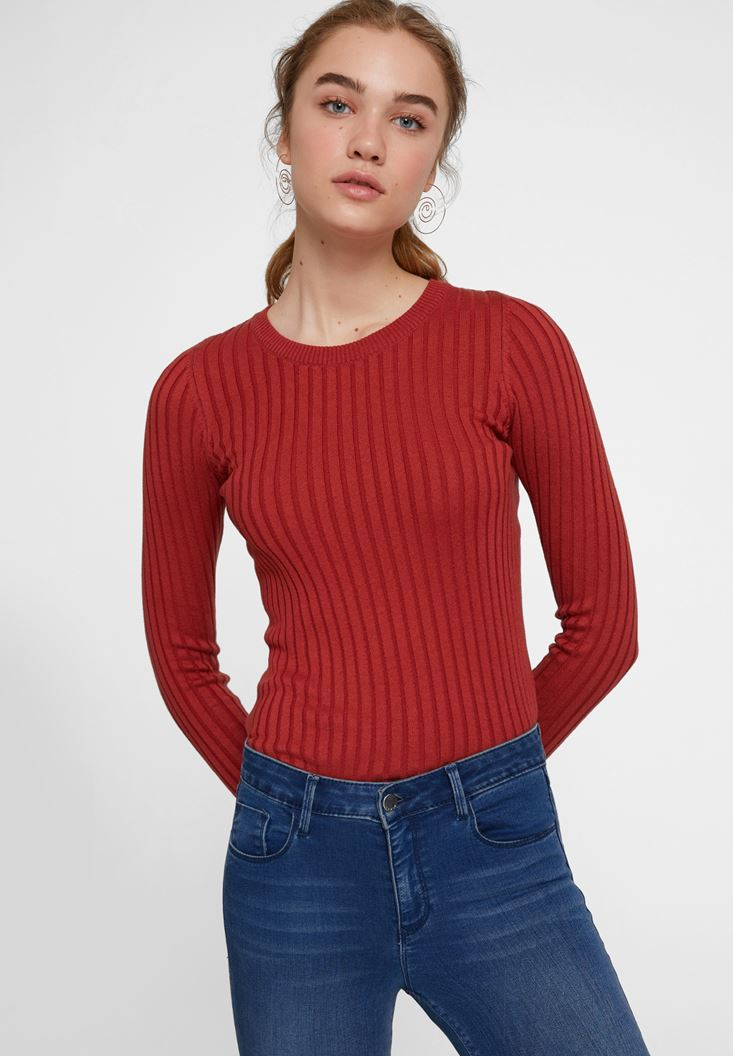 Red Long Sleeve Knitwear with Detail