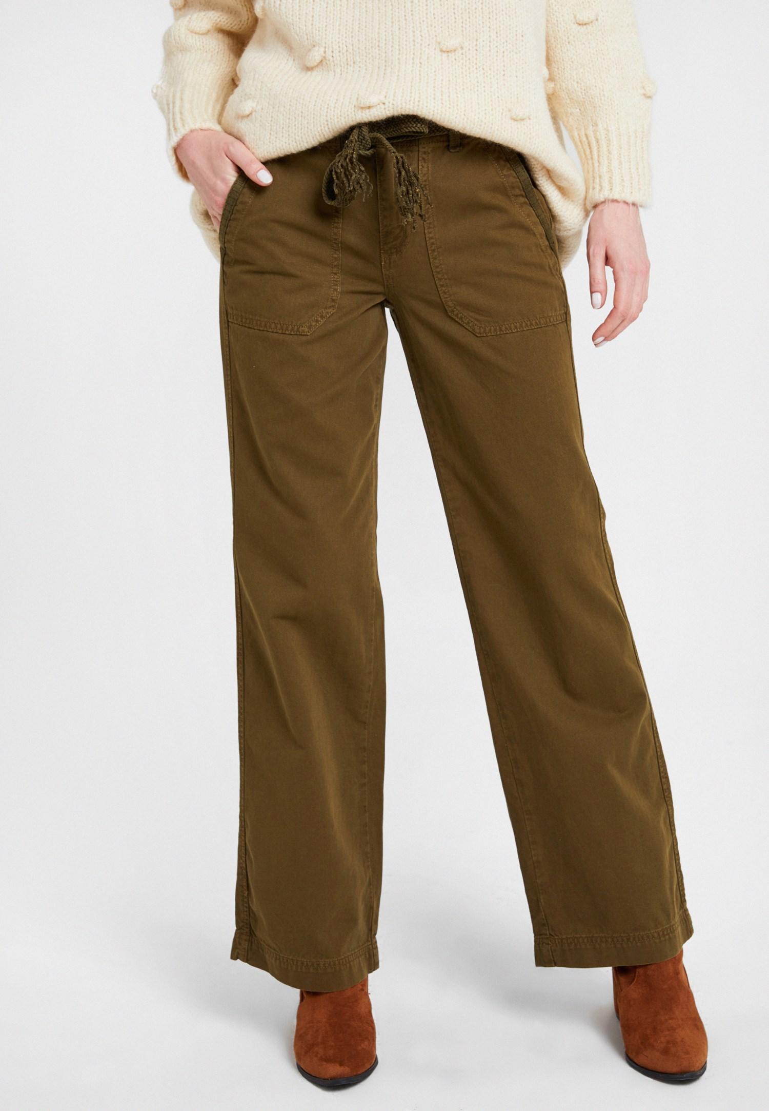 Bayan Yeşil Kemerli Kargo Pantolon
