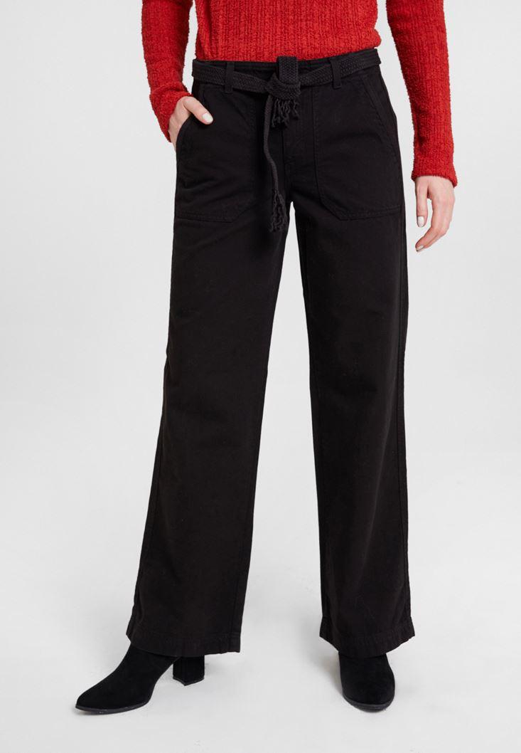 Black Mid Rise Cargo Pants