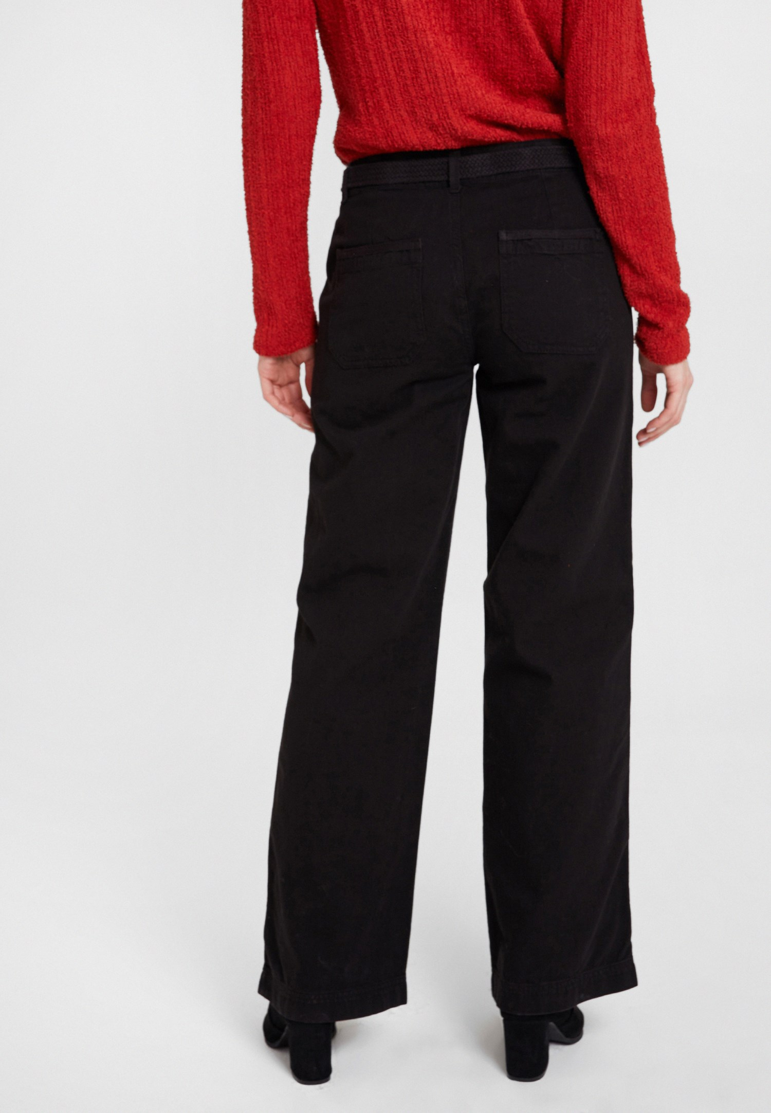 Women Black Mid Rise Cargo Pants