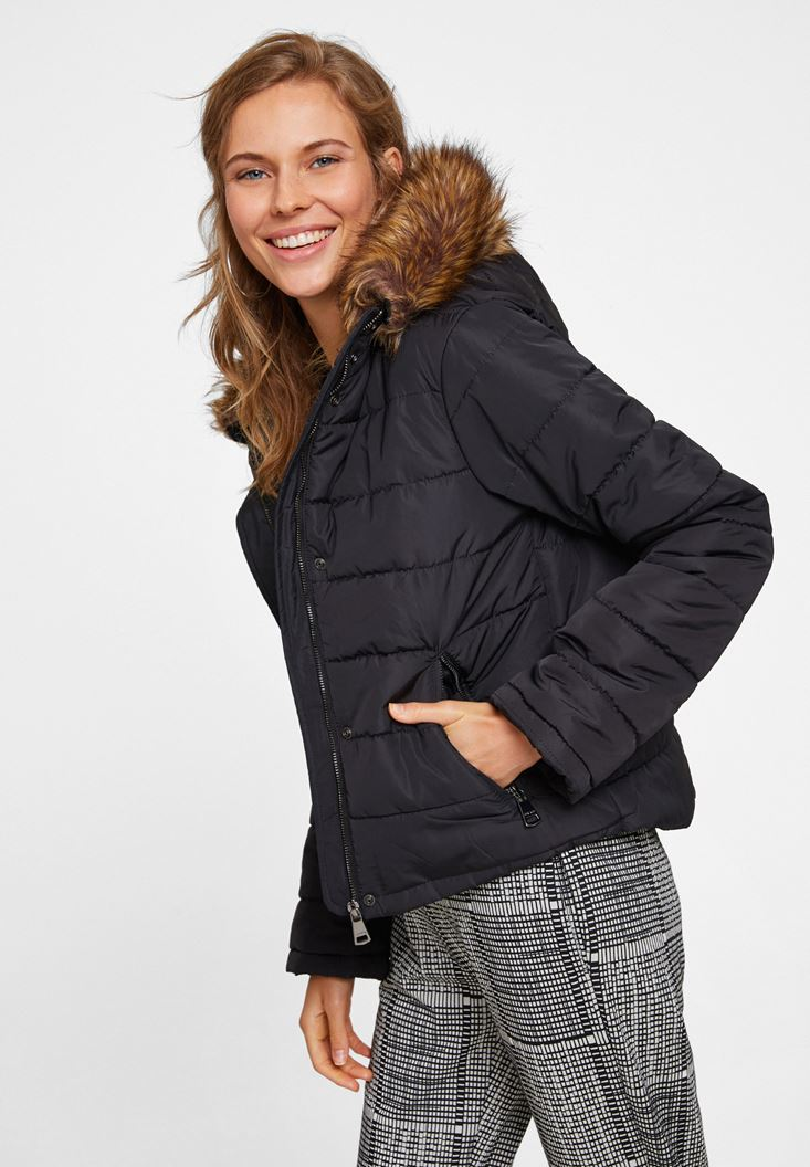 Black Hooded Down Puffer Jacket with Pocket