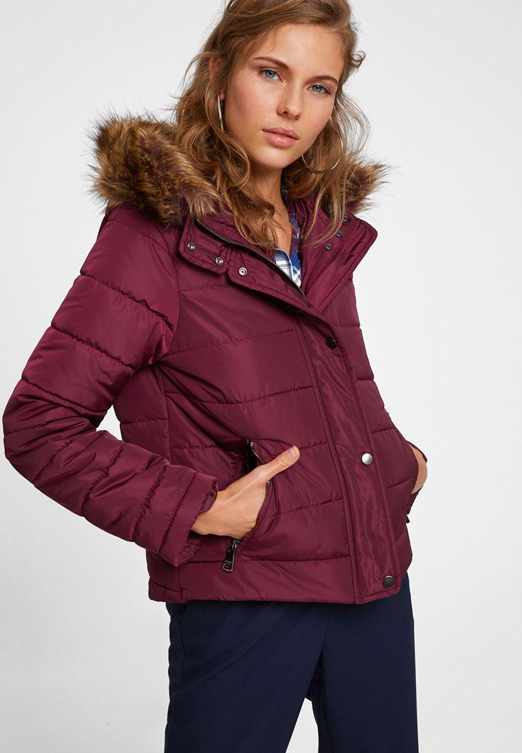 Purple Hooded Down Puffer Jacket with Pocket
