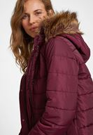 Women Bordeaux Hooded Down Puffer Jacket with Pocket