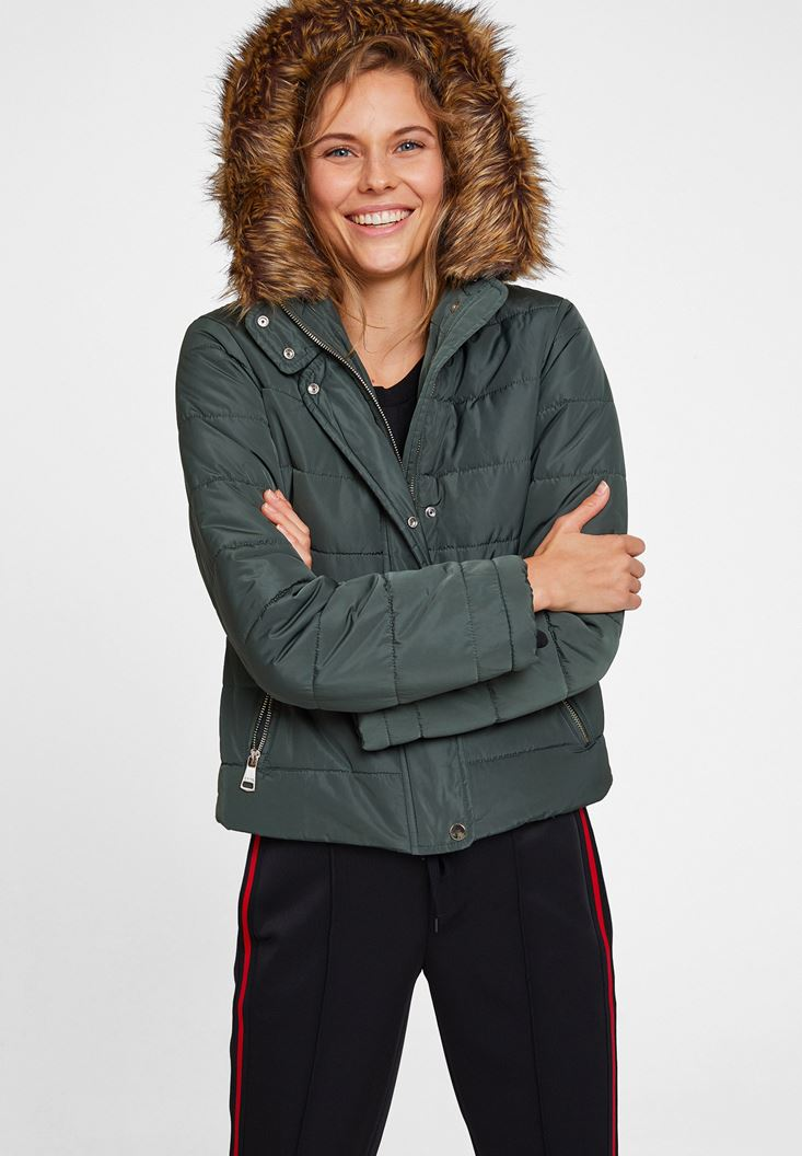 Green Hooded Down Puffer Jacket with Pocket