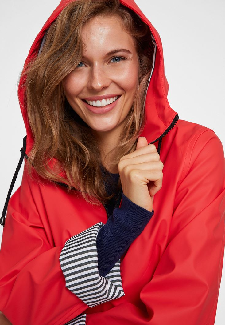Red Raincoat With Hood Detail