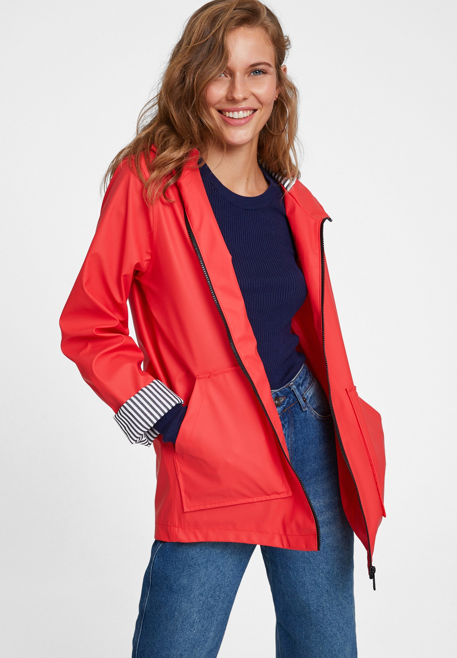 Women Red Raincoat With Hood Detail