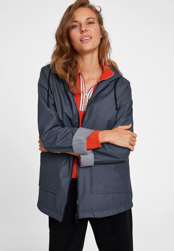 Grey Raincoat With Hood Detail