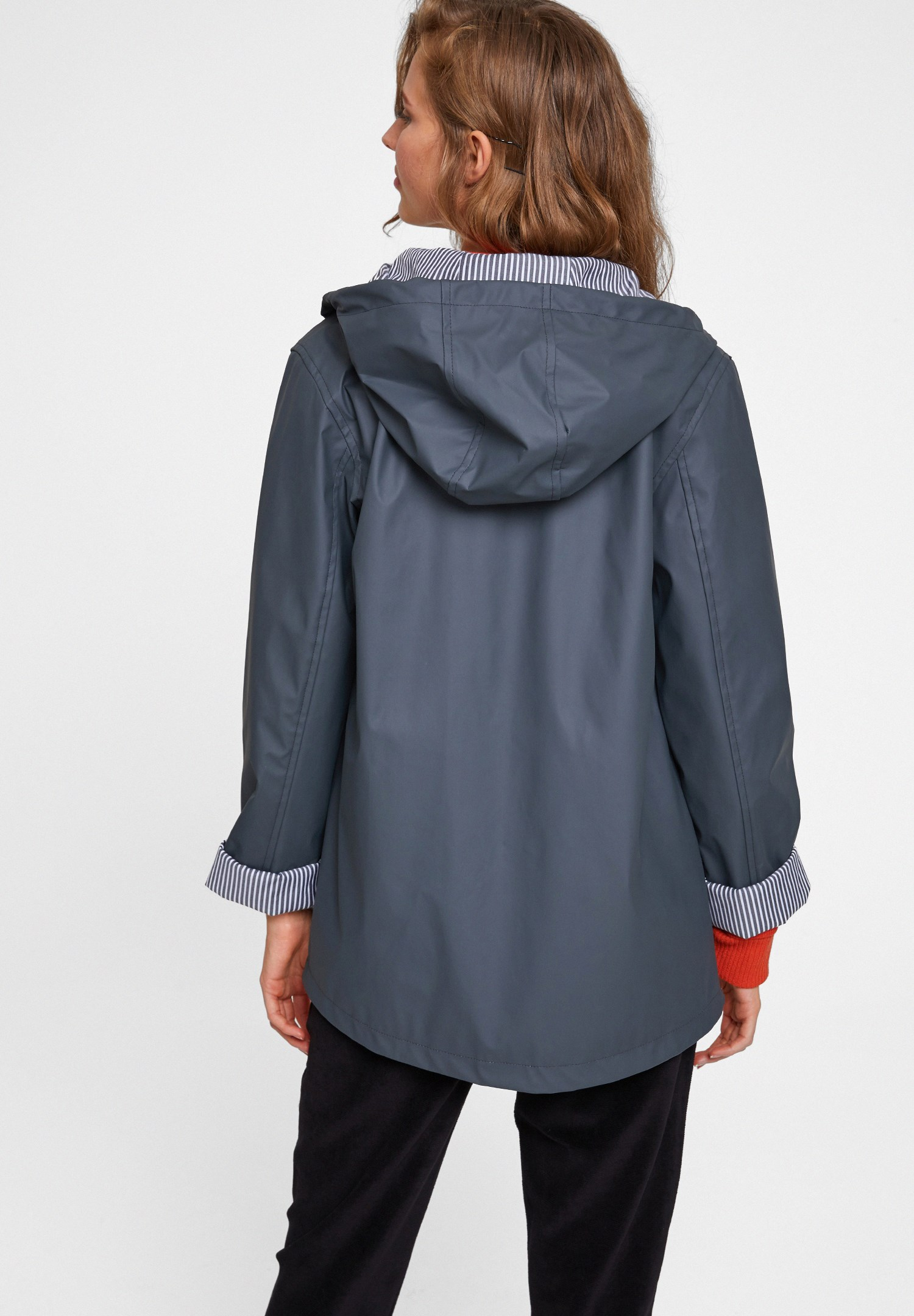 Women Grey Raincoat With Hood Detail