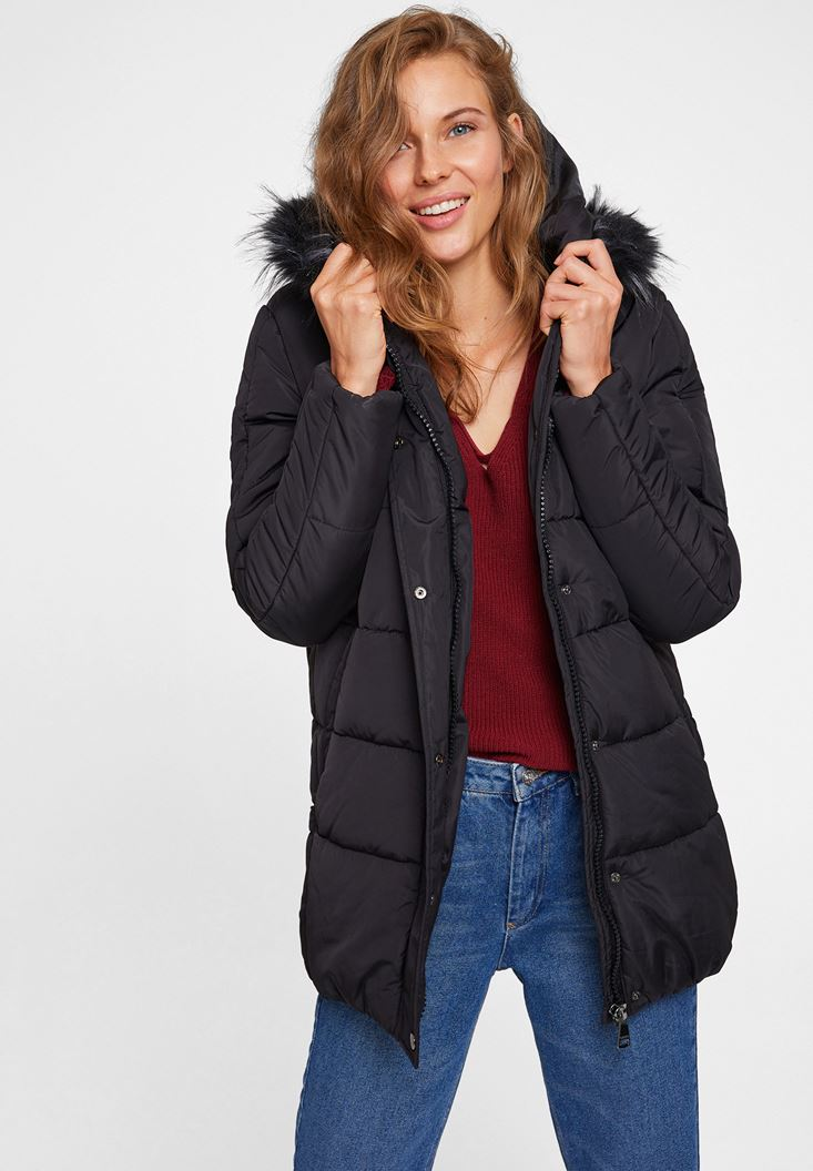Black Hooded Down Puffer Jacket