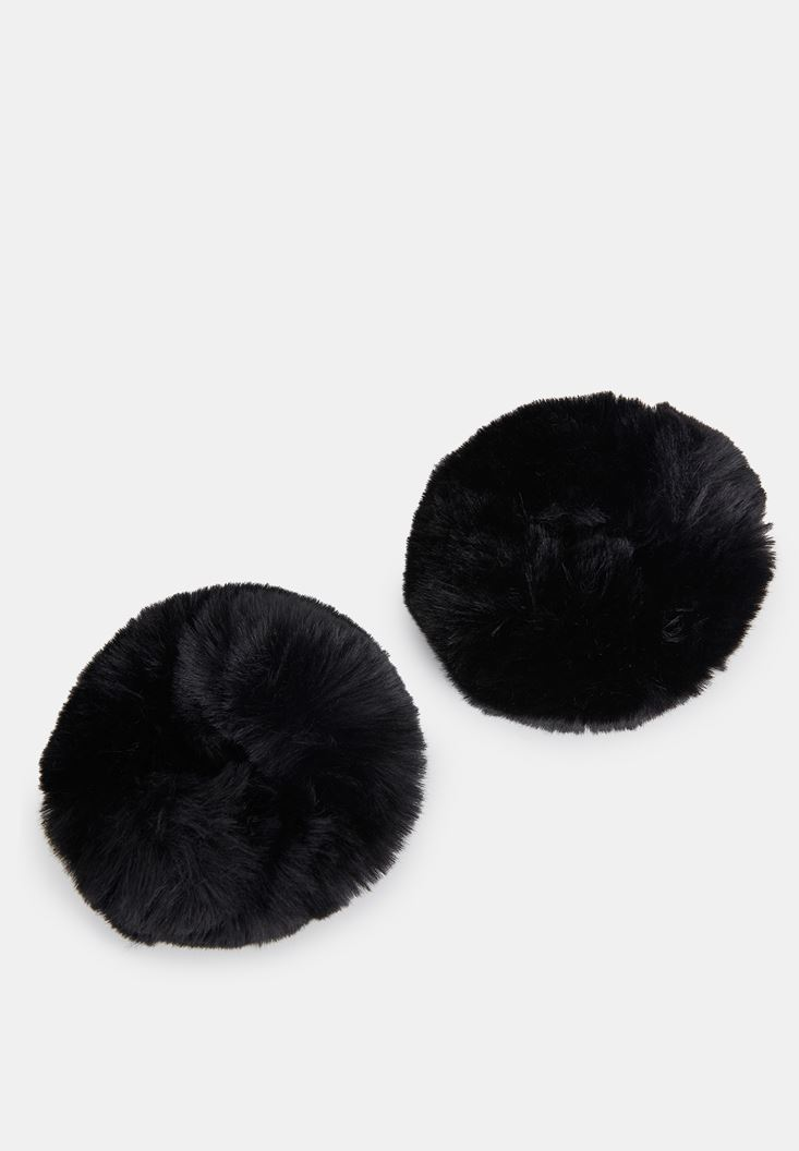Black Wristband with Fur Details