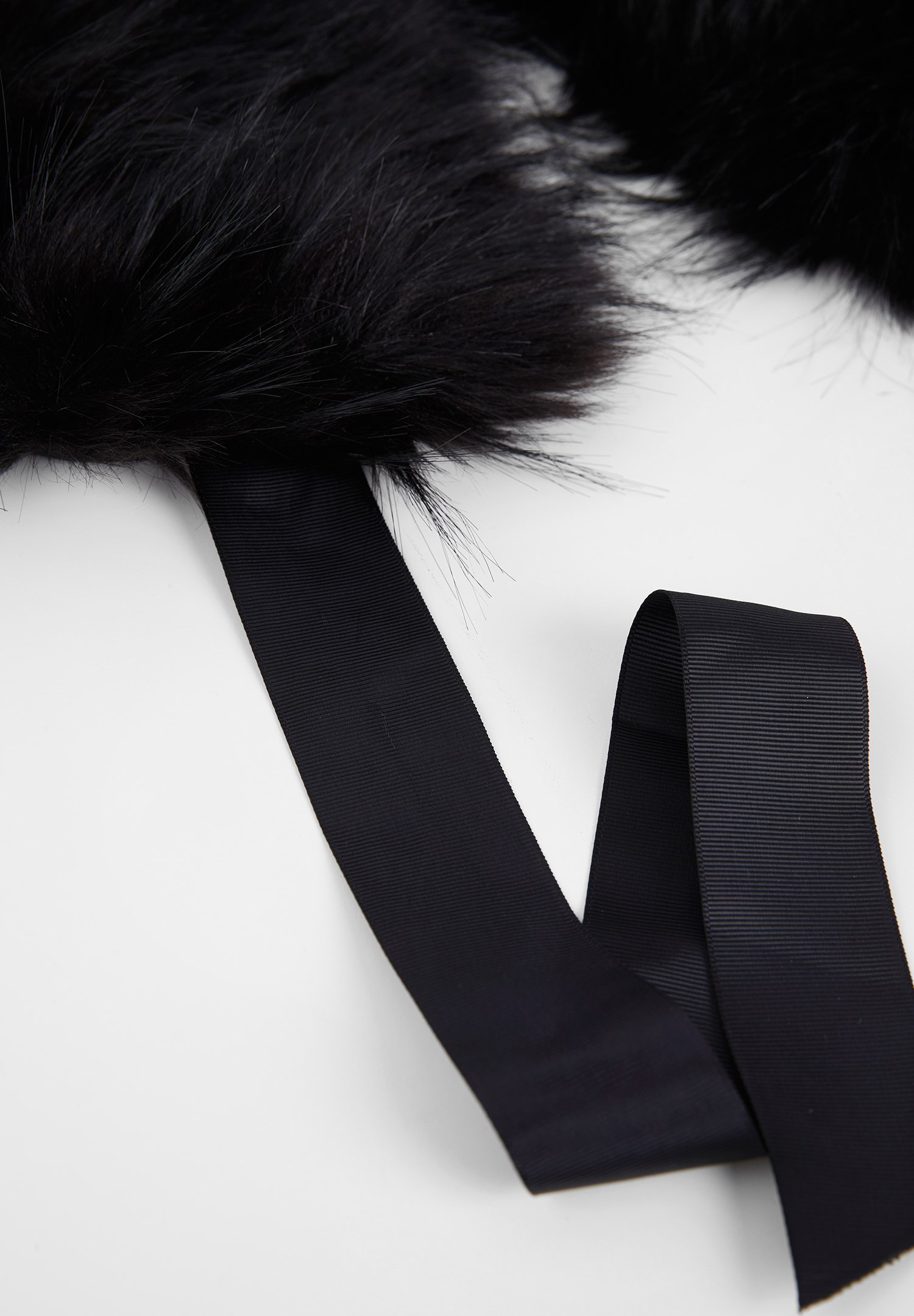 Women Black Fur with Ribbons