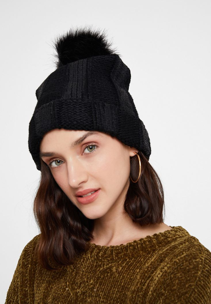 Black Beret with Pom Pom