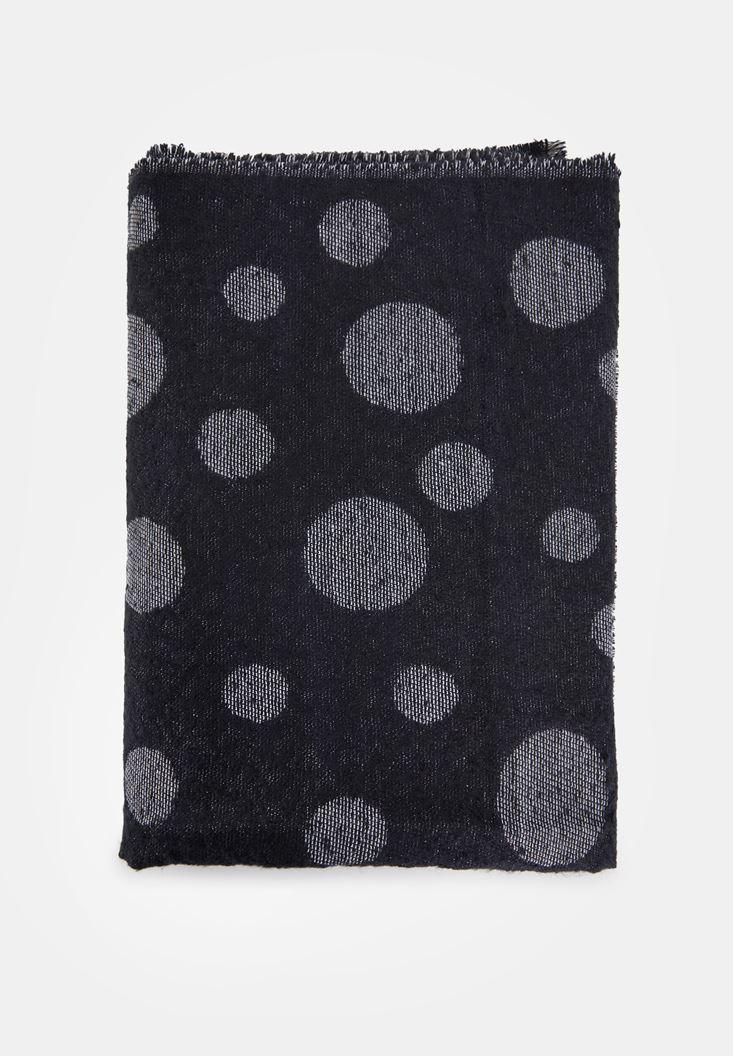 Siyah Puantiye Desen Detaylı Şal