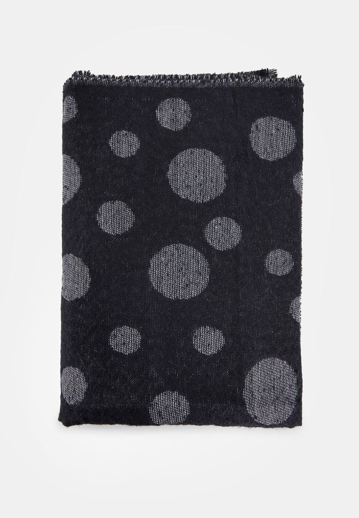 Black Scarf with Polka Dot Detail
