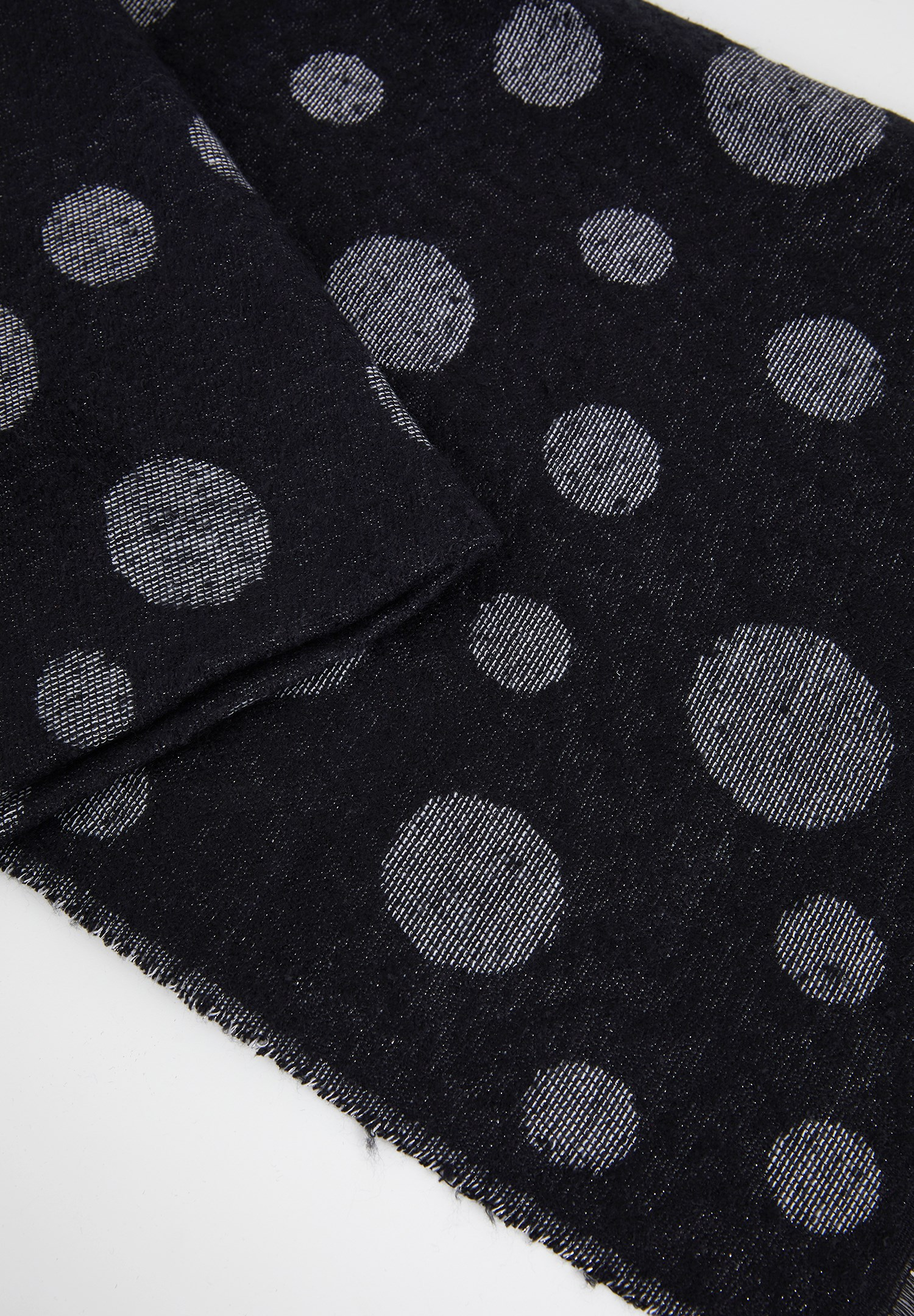 Women Black Scarf with Polka Dot Detail