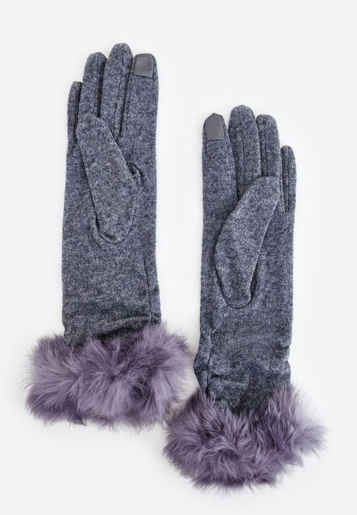 Grey Furry Detailed Gloves
