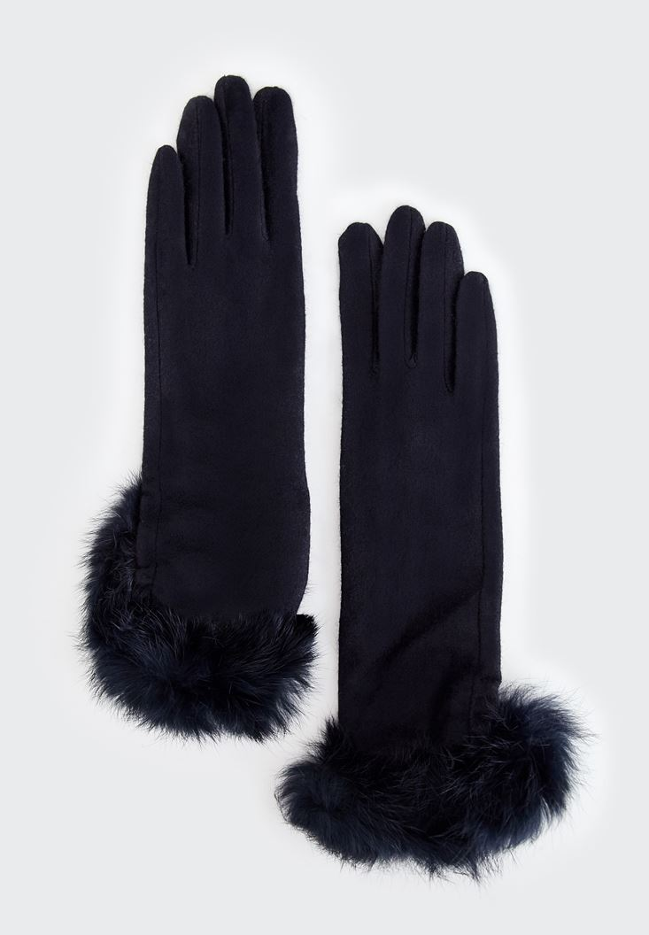Black Furry Detailed Gloves