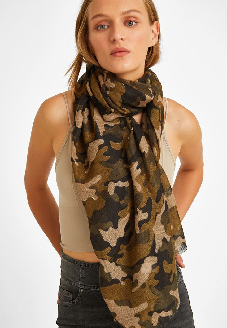 Green Cotton Shawl with Camouflage Pattern