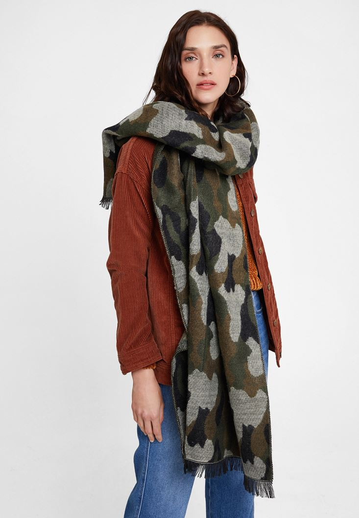 Green Scarf with Camouflage Patterned