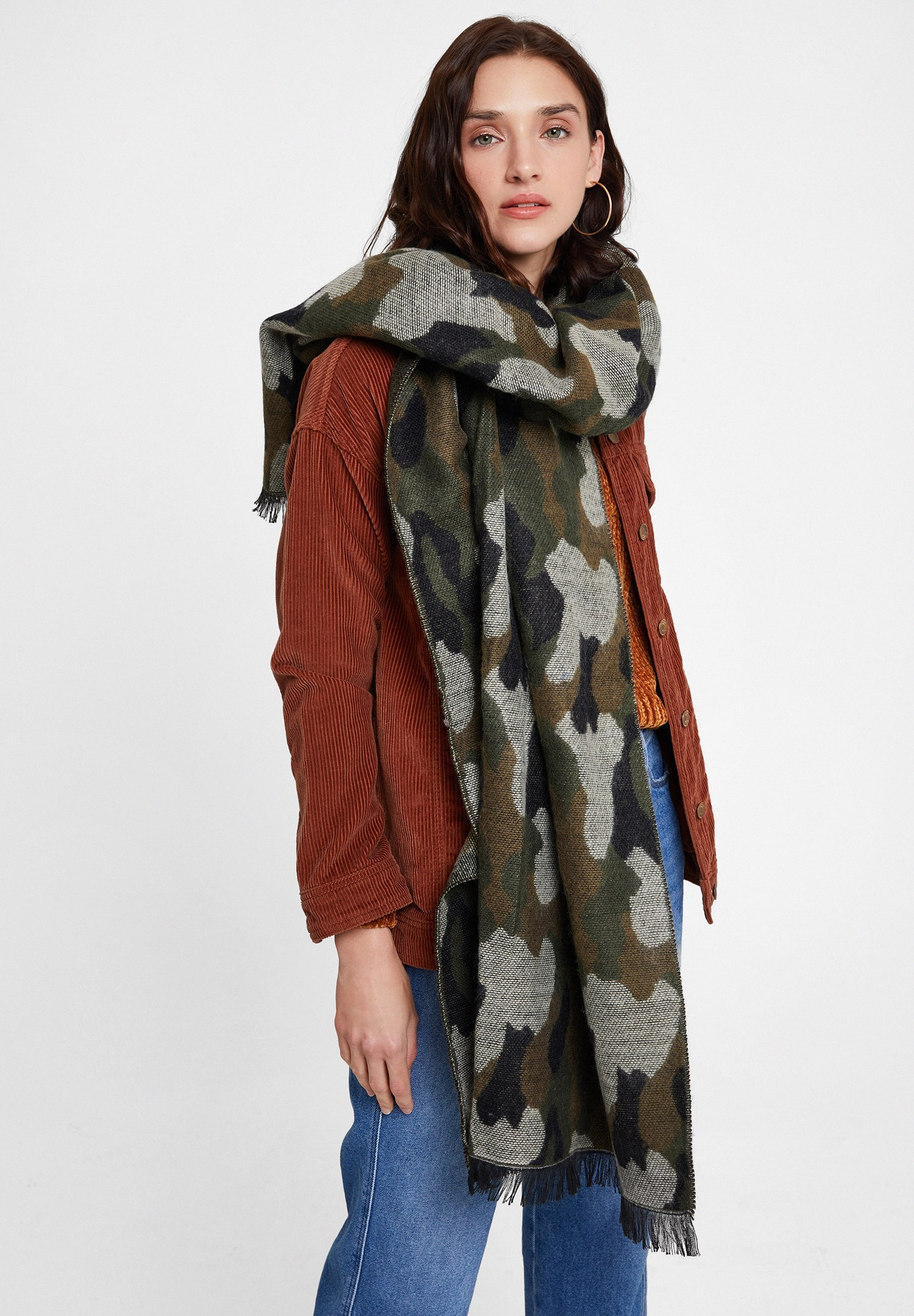 Women Green Scarf with Camouflage Patterned