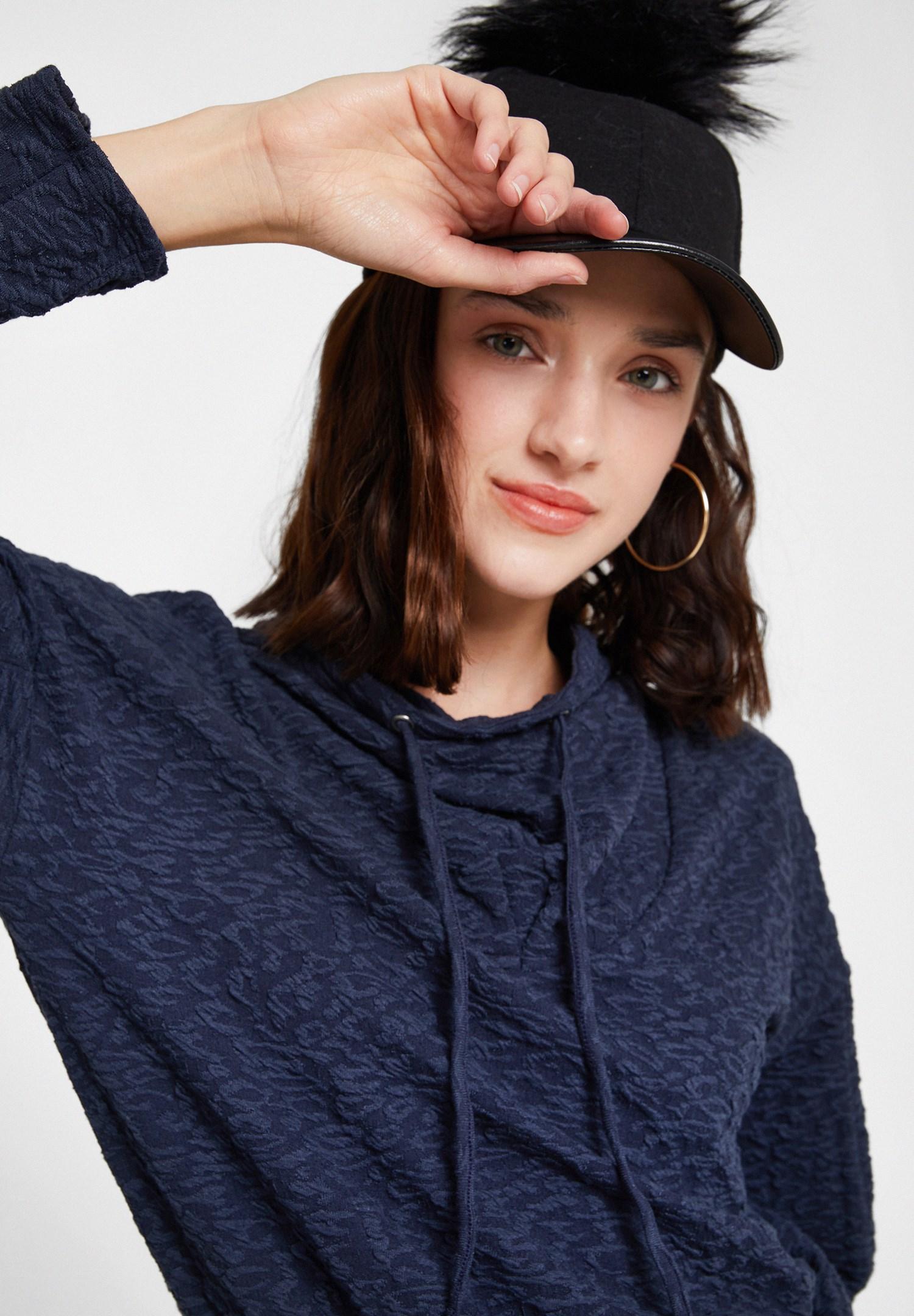 Bayan Siyah Ponpon Detaylı Şapka