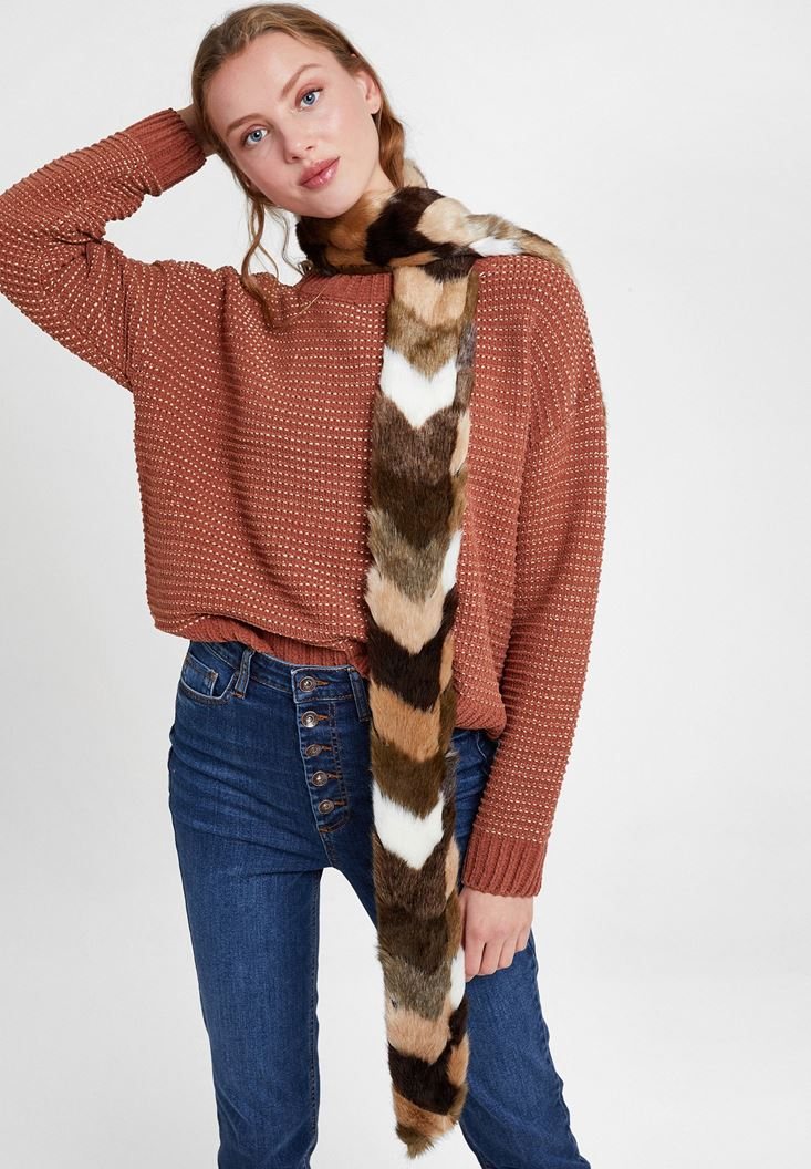Mixed Faux Fur Shawl with Stripe