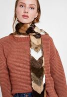 Women Mixed Faux Fur Shawl with Stripe
