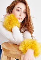 Bayan Sarı Suni Kürk Detaylı Bileklik