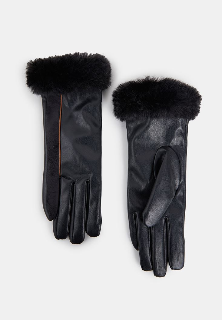 Black Faux Leather Gloves with Fur