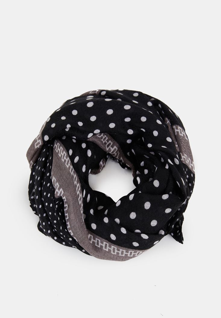 Black Polka Dot Scarf with Tassel