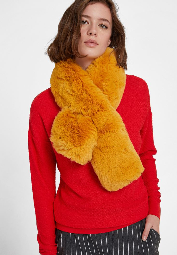 Yellow Faux Shearling Snood