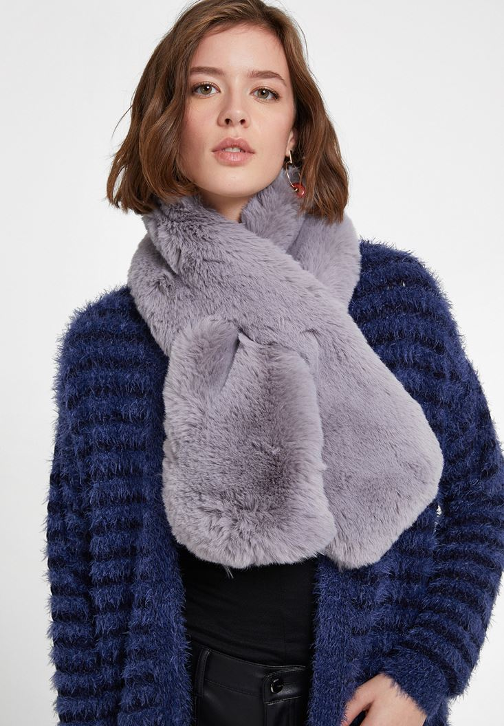 Brown Faux Shearling Snood