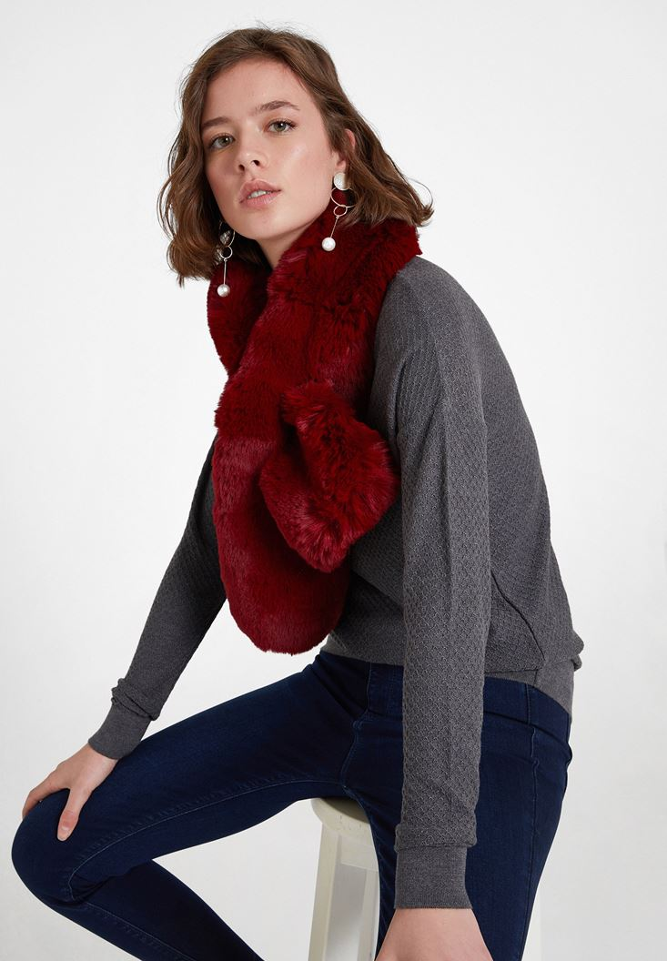 Bordeaux Faux Shearling Snood