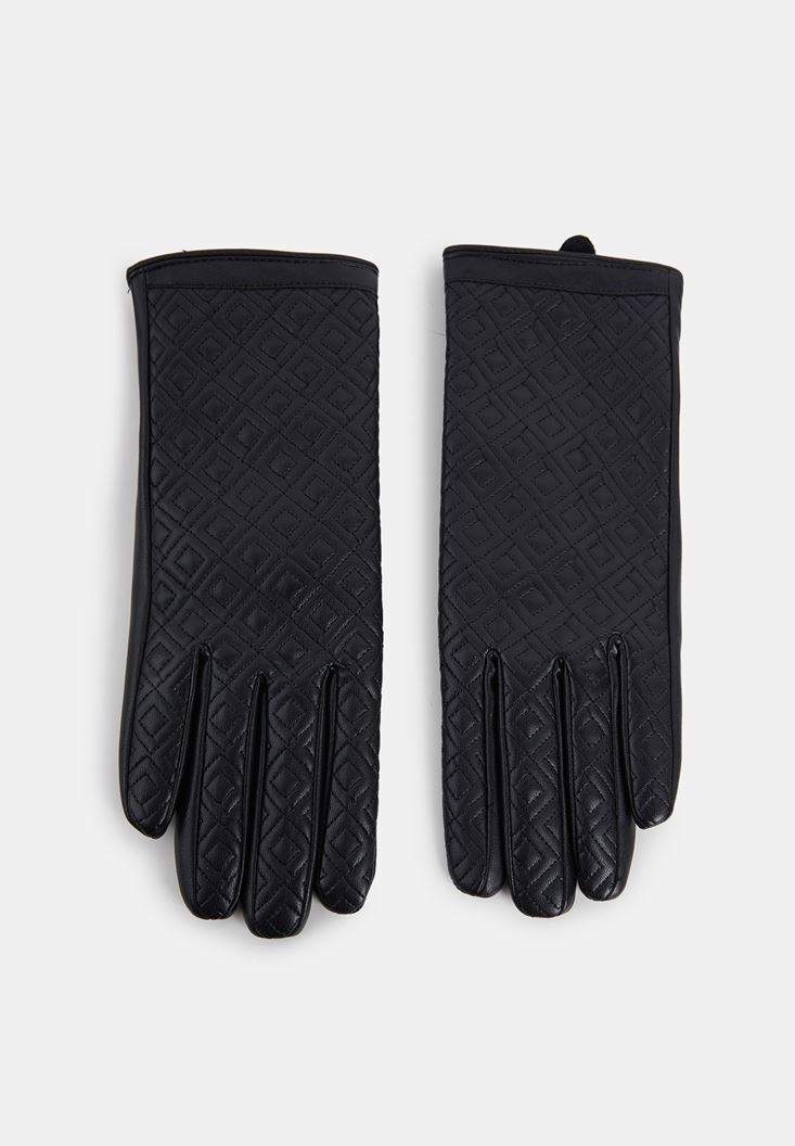 Black Tile Patterned Faux Leather Gloves