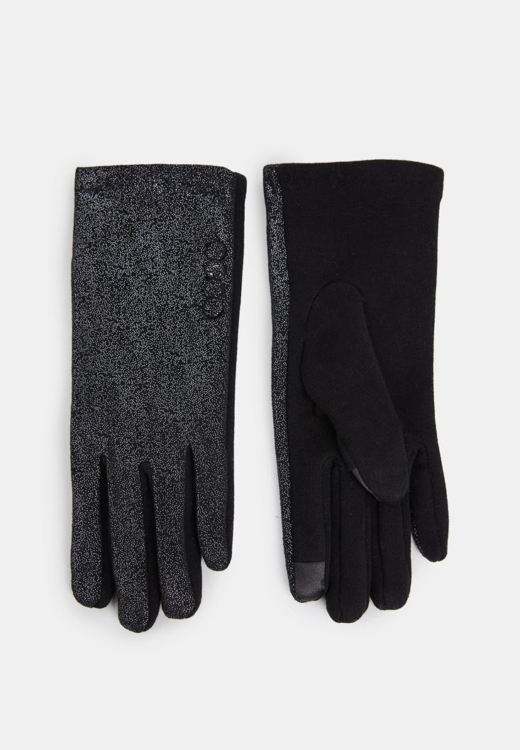 Black Buttoned Gloves