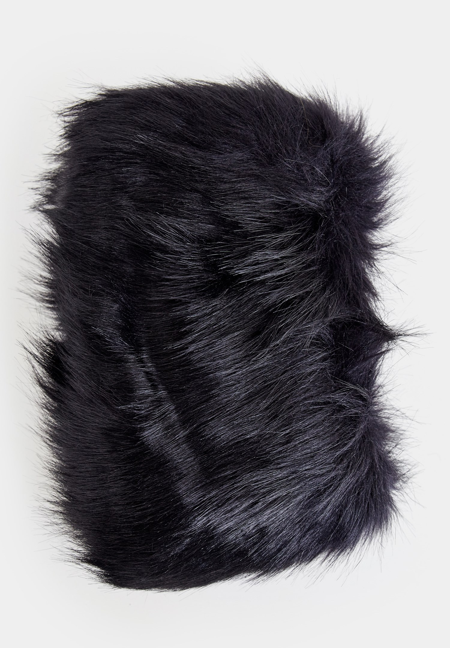 Women Black Shawl with Fake Furry