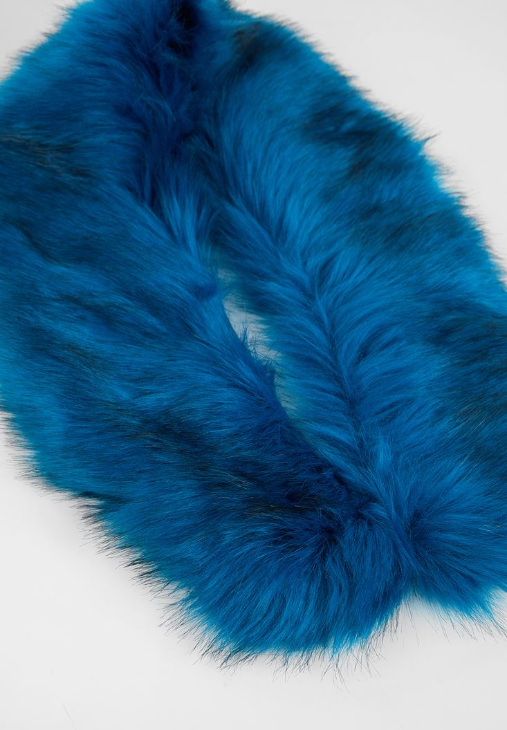 Mavi Suni Kürk Detaylı Şal