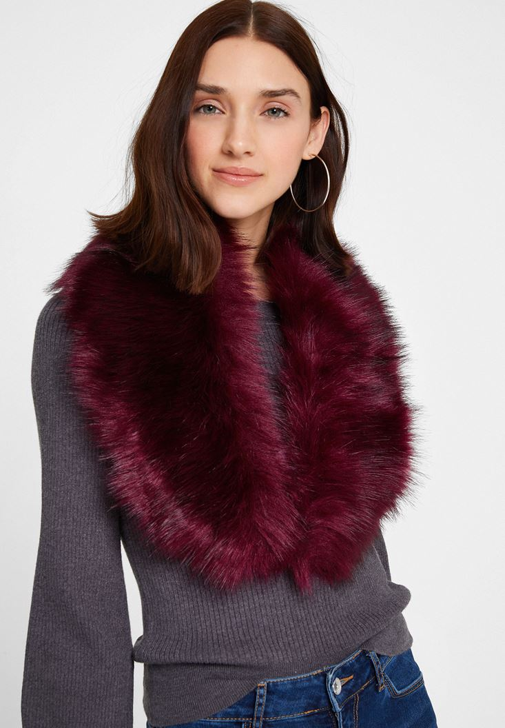 Purple Shawl with Fake Furry