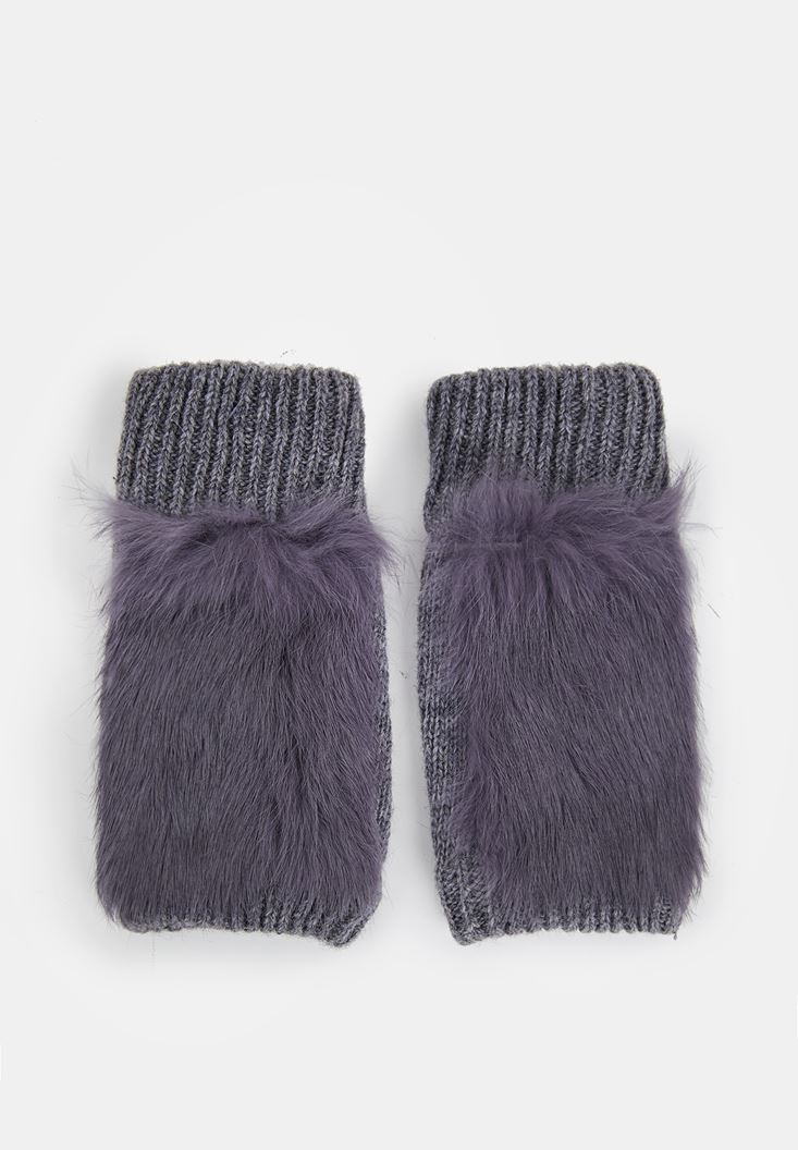 Grey Textured Gloves with Detail