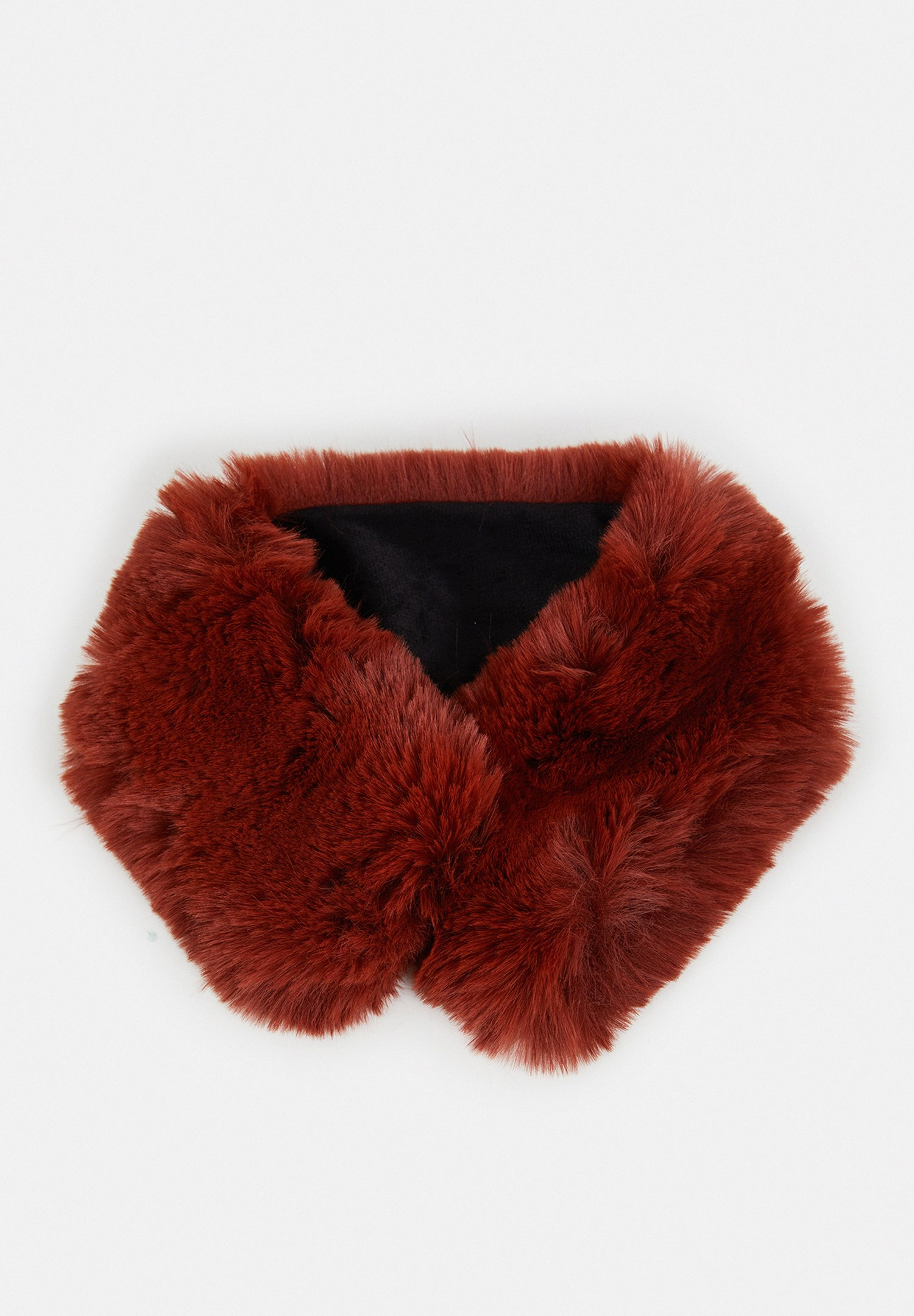 Women Red Fake Fur Short Neck