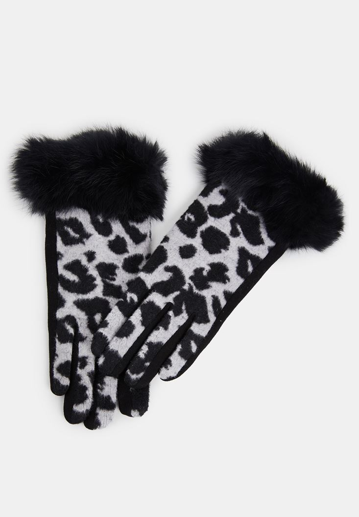 Black Leopard Pattern Gloves with Fur