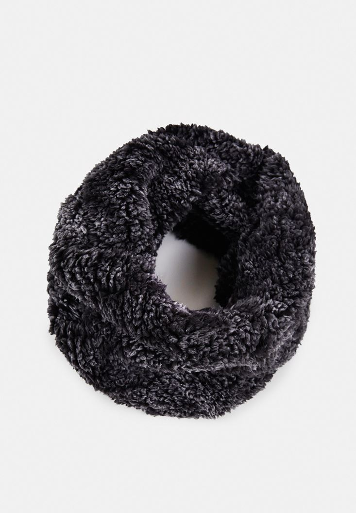 Black Snood with Faux Fur