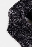 Women Black Snood with Faux Fur