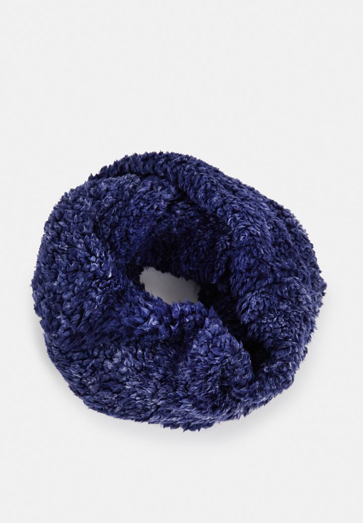 Blue Snood with Faux Fur